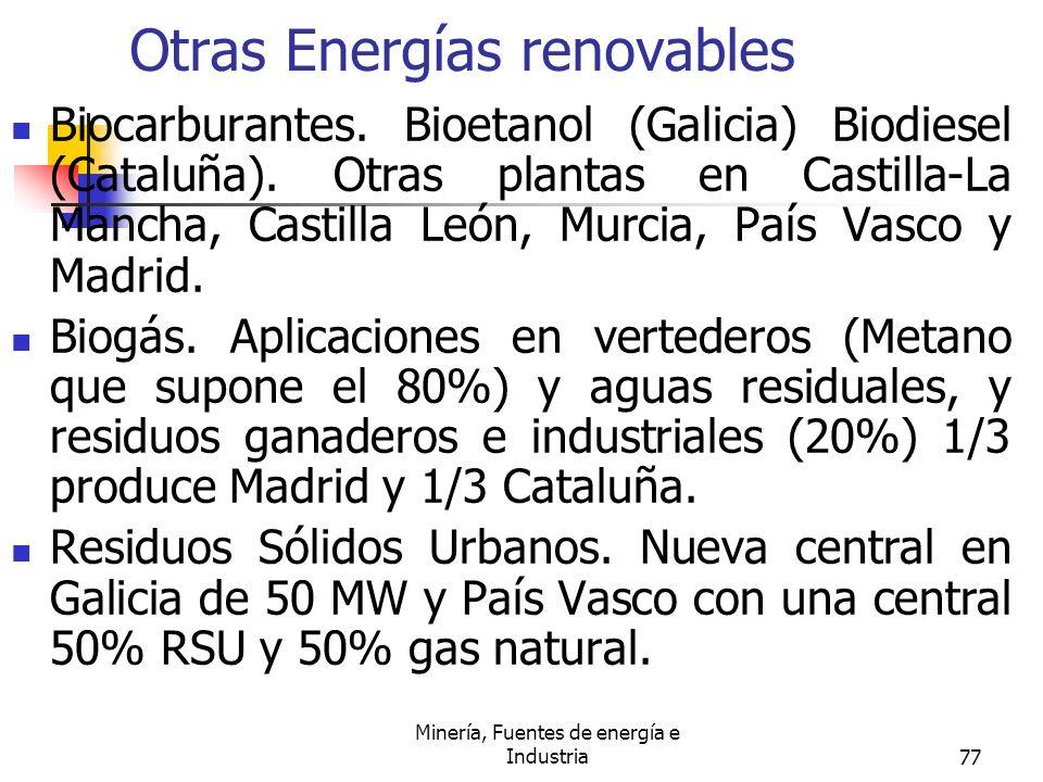 Minería, Fuentes de energía e Industria77 Otras Energías renovables Biocarburantes. Bioetanol (Galicia) Biodiesel (Cataluña). Otras plantas en Castill
