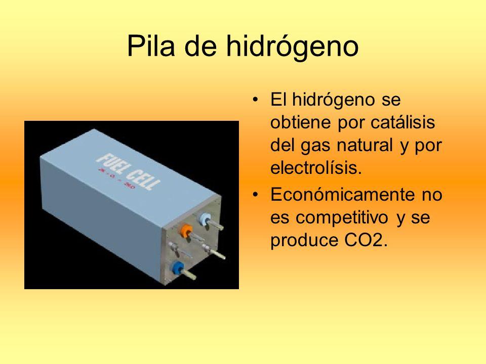 Pila de hidrógeno El hidrógeno se obtiene por catálisis del gas natural y por electrolísis.