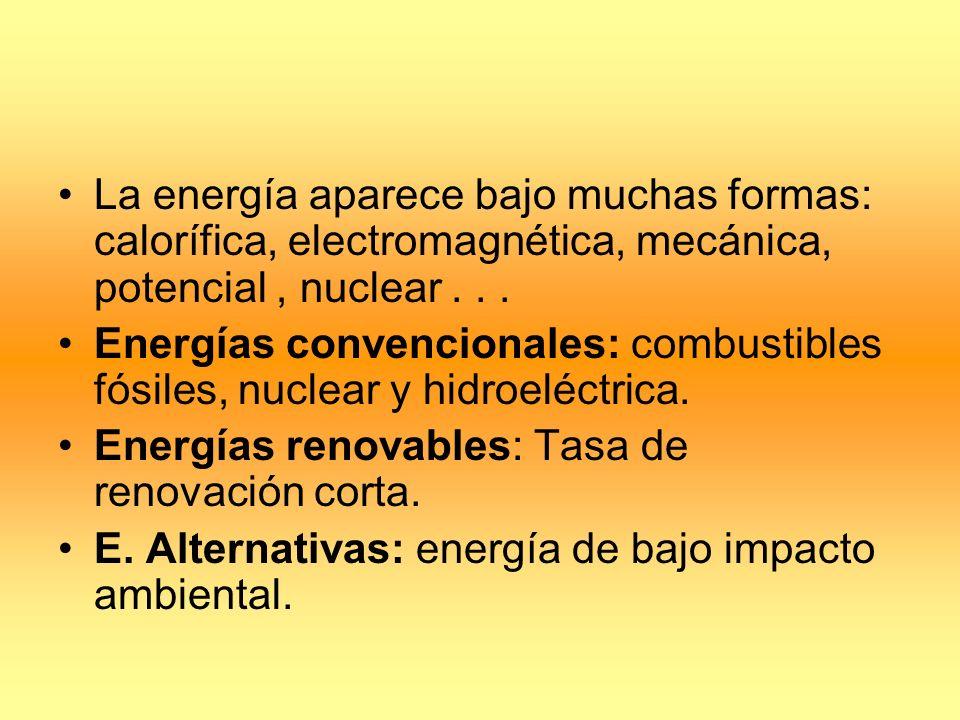 USO DE LA ENERGÍA Calidad de la energía: cuanto más concentrada más calidad.