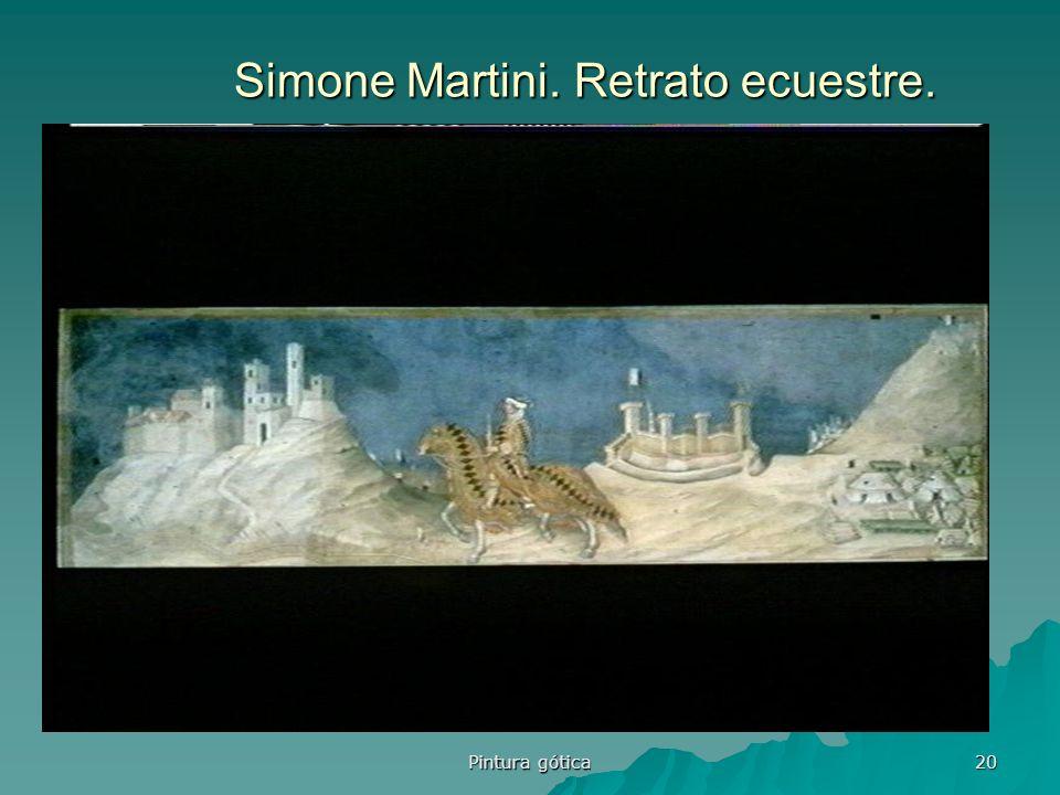 Pintura gótica 20 Simone Martini. Retrato ecuestre.