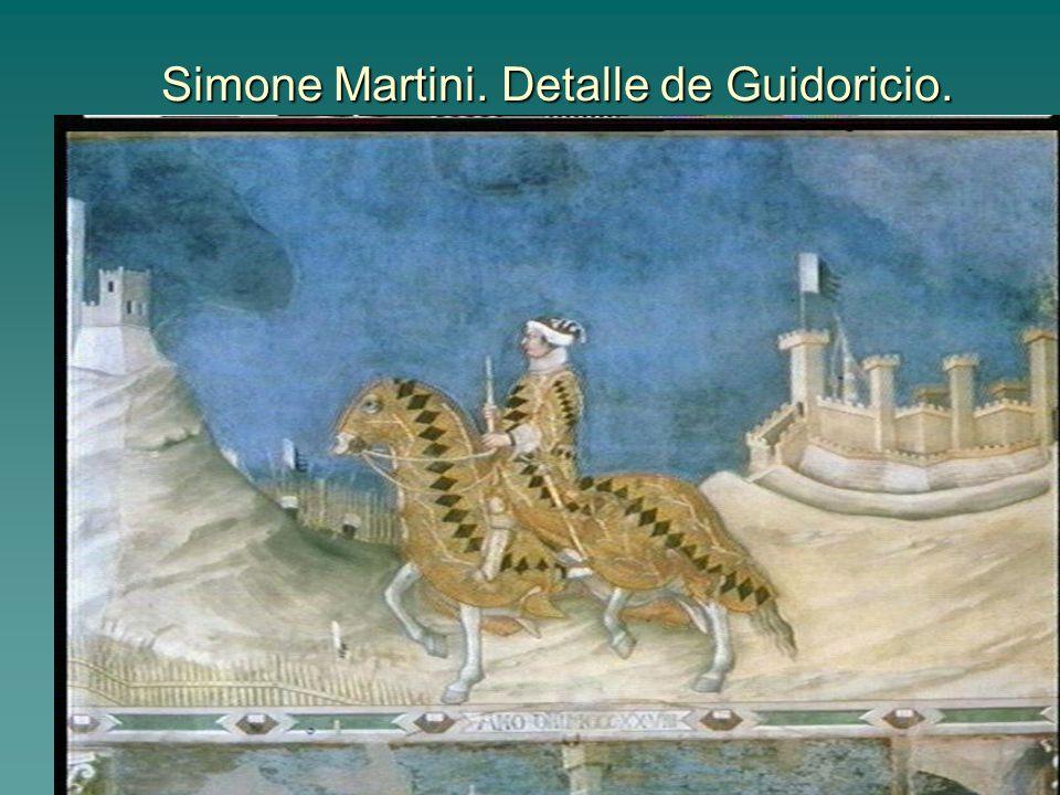 Pintura gótica 21 Simone Martini. Detalle de Guidoricio.