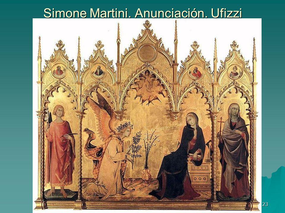 Pintura gótica 23 Simone Martini. Anunciación. Ufizzi