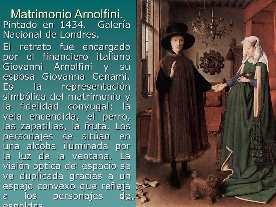 Pintura gótica 36 Matrimonio Arnolfini. Pintado en 1434. Galería Nacional de Londres. El retrato fue encargado por el financiero italiano Giovanni Arn