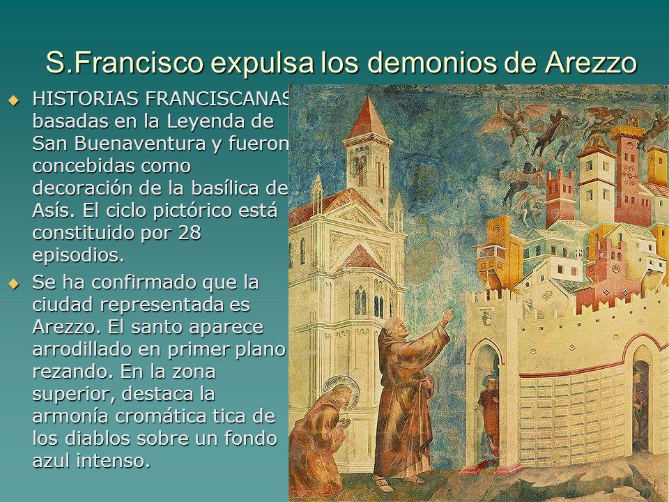 Pintura gótica 6 S.Francisco expulsa los demonios de Arezzo HISTORIAS FRANCISCANAS basadas en la Leyenda de San Buenaventura y fueron concebidas como