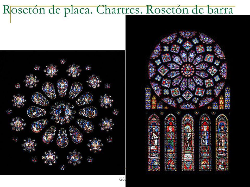 Gótico 15 Rosetón de placa. Chartres. Rosetón de barra