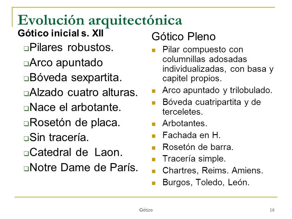 Gótico 16 Evolución arquitectónica Gótico inicial s. XII Pilares robustos. Arco apuntado Bóveda sexpartita. Alzado cuatro alturas. Nace el arbotante.