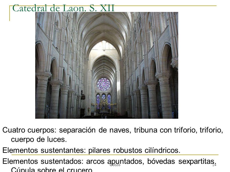 Gótico 24 Catedral de Laon. S. XII Cuatro cuerpos: separación de naves, tribuna con triforio, triforio, cuerpo de luces. Elementos sustentantes: pilar