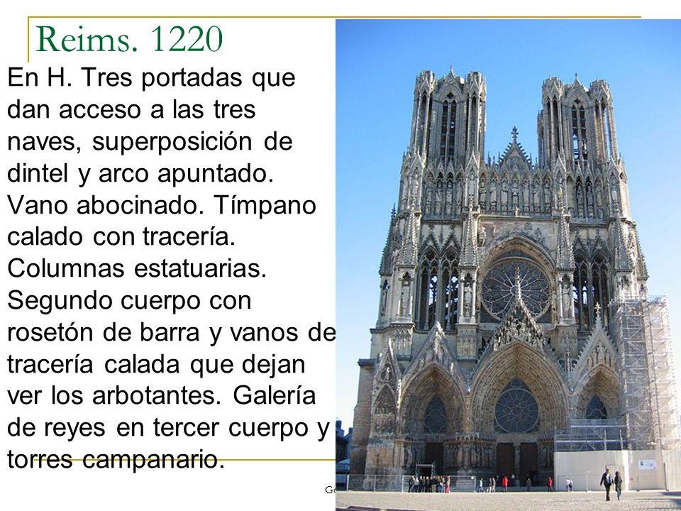 Gótico 30 Reims. 1220 En H. Tres portadas que dan acceso a las tres naves, superposición de dintel y arco apuntado. Vano abocinado. Tímpano calado con