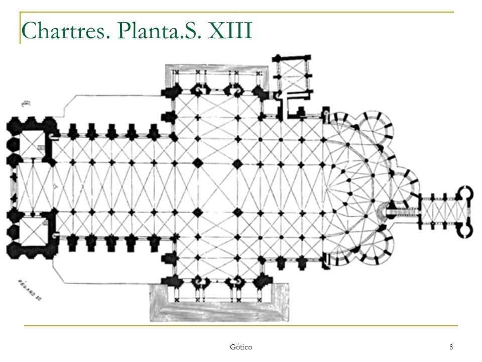 Gótico 9 Chartres:Arco apuntado y bóveda de crucería.