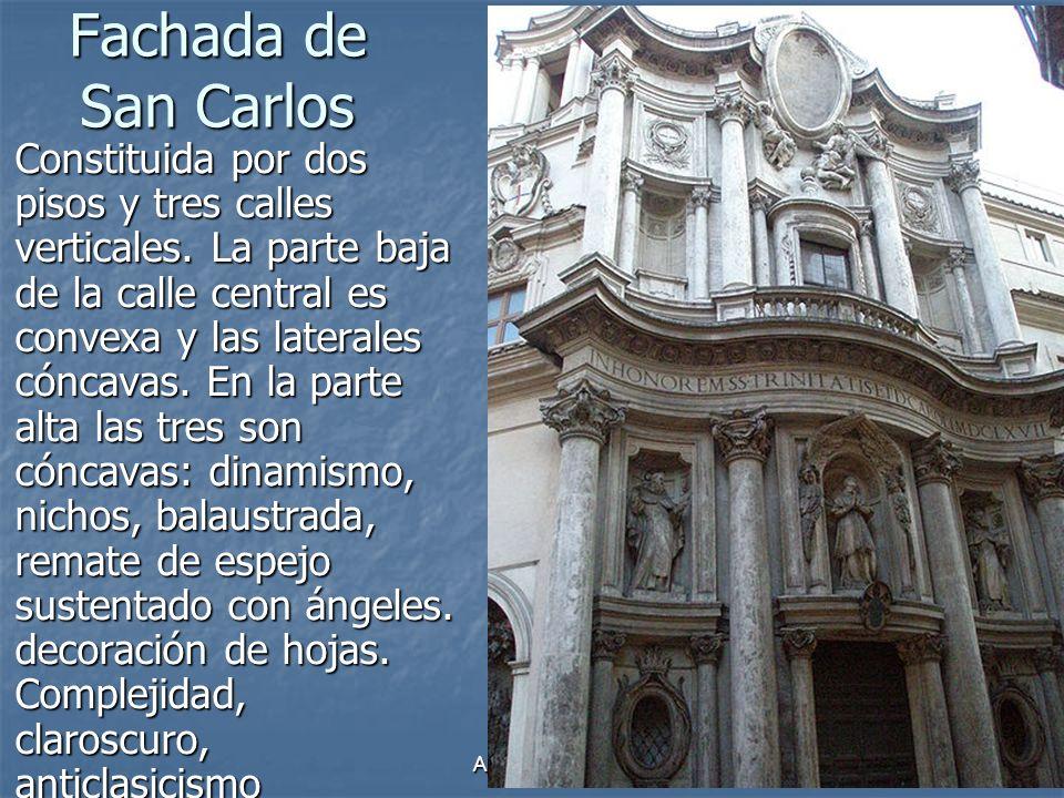 Arte Barroco30 Fachada de San Carlos Constituida por dos pisos y tres calles verticales. La parte baja de la calle central es convexa y las laterales