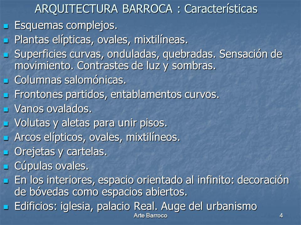 Arte Barroco4 ARQUITECTURA BARROCA : Características Esquemas complejos. Esquemas complejos. Plantas elípticas, ovales, mixtilíneas. Plantas elípticas