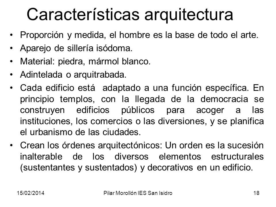 15/02/2014Pilar Morollón IES San Isidro18 Características arquitectura Proporción y medida, el hombre es la base de todo el arte. Aparejo de sillería