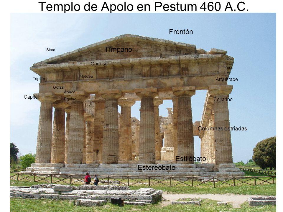15/02/2014Pilar Morollón IES San Isidro22 Templo de Apolo en Pestum 460 A.C. Estereóbato Estilóbato Columnas estriadas Collarino Capitel Ábaco Equino