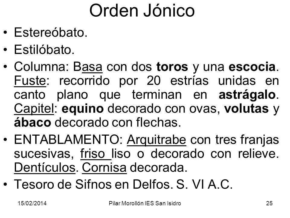 15/02/2014Pilar Morollón IES San Isidro25 Orden Jónico Estereóbato. Estilóbato. Columna: Basa con dos toros y una escocia. Fuste: recorrido por 20 est