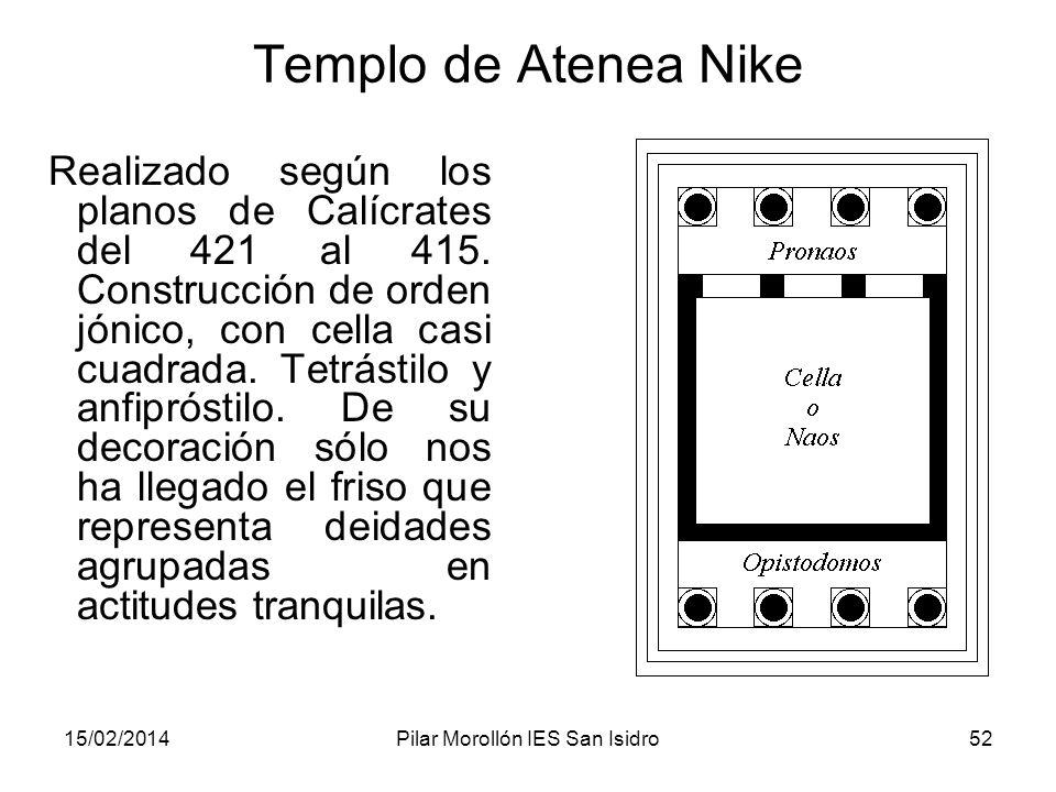 15/02/2014Pilar Morollón IES San Isidro52 Templo de Atenea Nike Realizado según los planos de Calícrates del 421 al 415. Construcción de orden jónico,