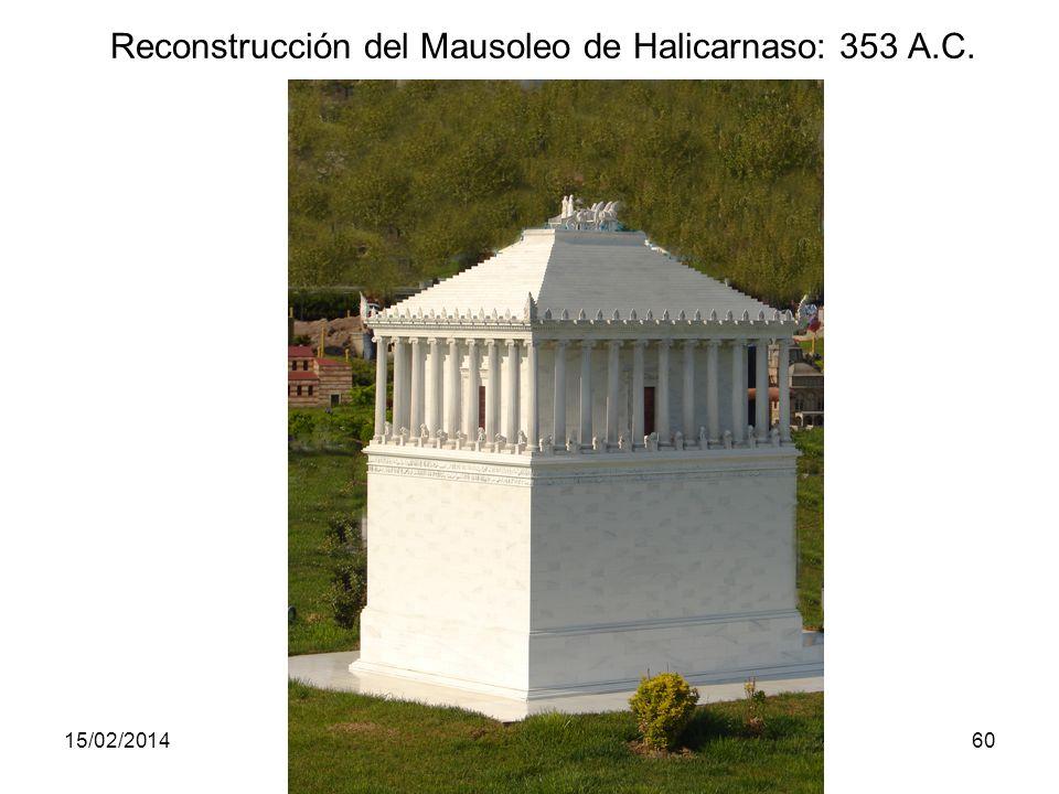 15/02/2014Pilar Morollón IES San Isidro60 Reconstrucción del Mausoleo de Halicarnaso: 353 A.C.