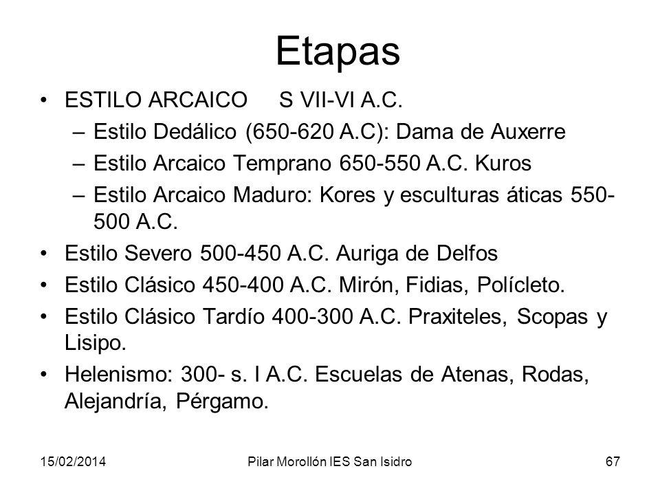 15/02/2014Pilar Morollón IES San Isidro67 Etapas ESTILO ARCAICO S VII-VI A.C. –Estilo Dedálico (650-620 A.C): Dama de Auxerre –Estilo Arcaico Temprano