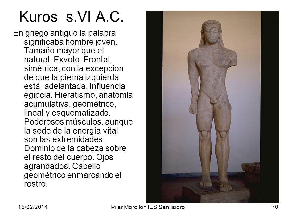 15/02/2014Pilar Morollón IES San Isidro70 Kuros s.VI A.C. En griego antiguo la palabra significaba hombre joven. Tamaño mayor que el natural. Exvoto.