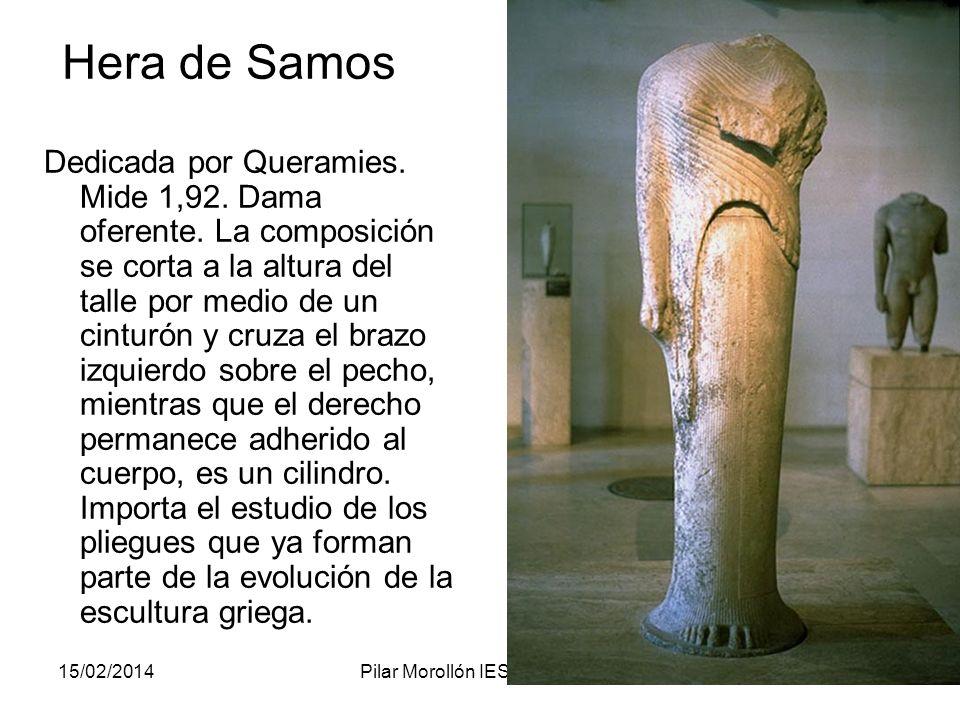 15/02/2014Pilar Morollón IES San Isidro74 Hera de Samos Dedicada por Queramies. Mide 1,92. Dama oferente. La composición se corta a la altura del tall