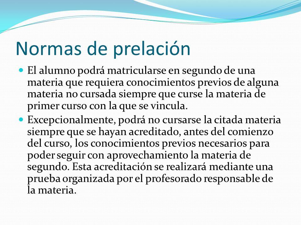 Normas de prelación El alumno podrá matricularse en segundo de una materia que requiera conocimientos previos de alguna materia no cursada siempre que