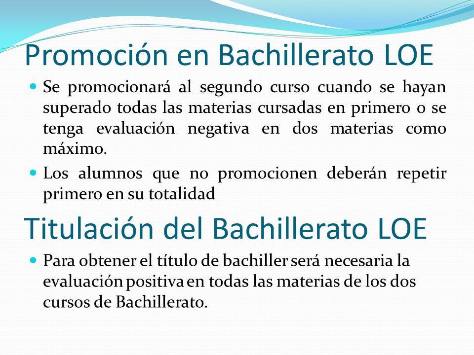 Promoción en Bachillerato LOE Se promocionará al segundo curso cuando se hayan superado todas las materias cursadas en primero o se tenga evaluación n