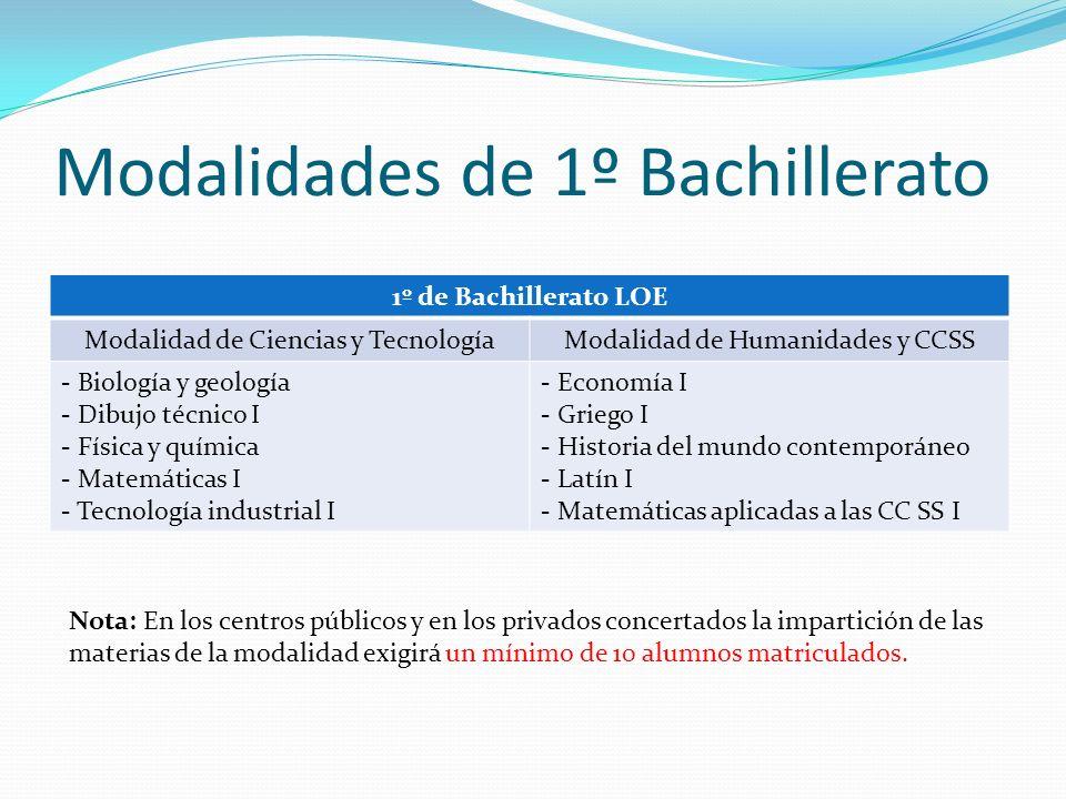 Modalidades de 1º Bachillerato 1º de Bachillerato LOE Modalidad de Ciencias y TecnologíaModalidad de Humanidades y CCSS - Biología y geología - Dibujo