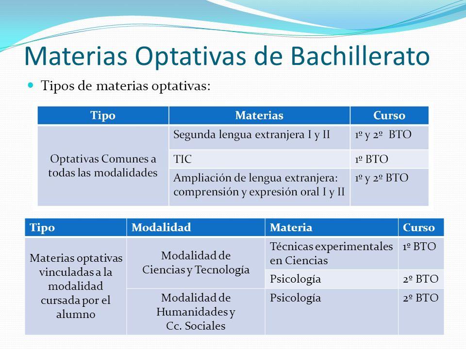 Otros tipos de Optativas * Materias de la modalidad cursada por el alumno, que no forman parte del itinerario elegido por él y son impartidas en el Centro.