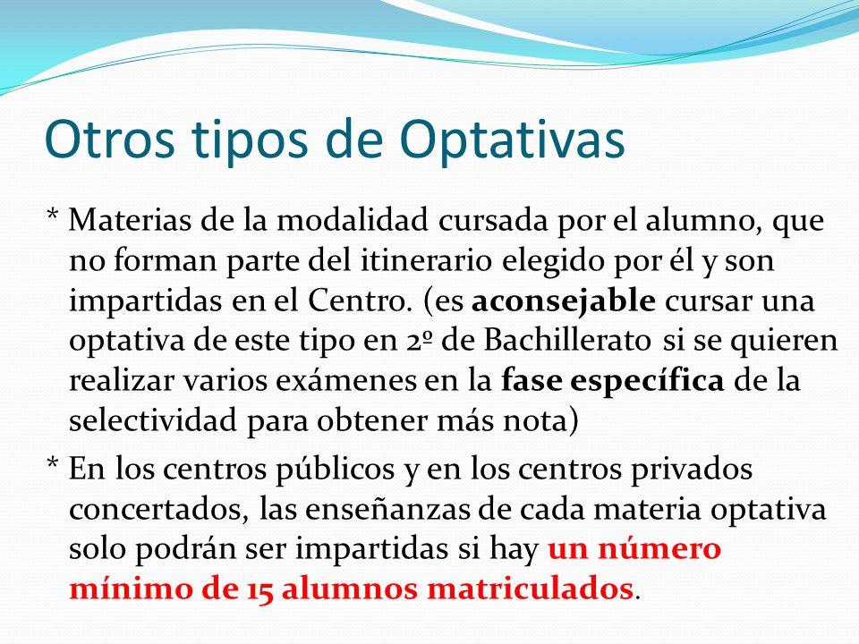 Otros tipos de Optativas * Materias de la modalidad cursada por el alumno, que no forman parte del itinerario elegido por él y son impartidas en el Ce