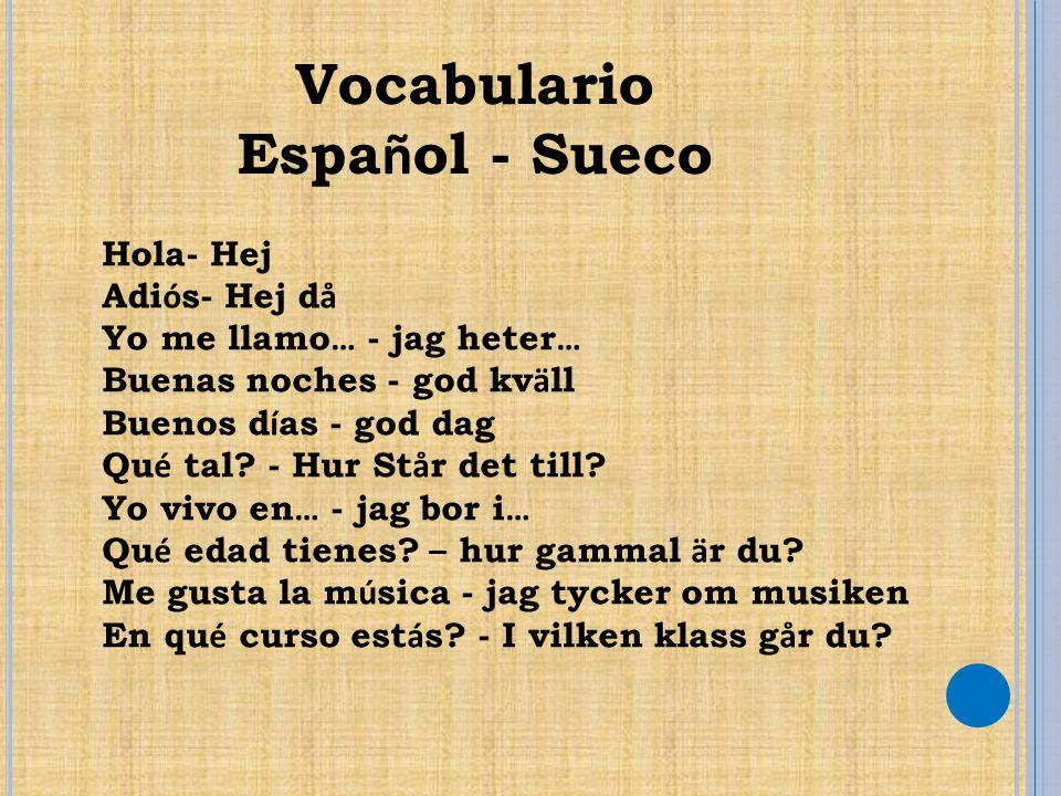 Vocabulario Espa ñ ol - Sueco Hola- Hej Adi ó s- Hej d å Yo me llamo … - jag heter … Buenas noches - god kv ä ll Buenos d í as - god dag Qu é tal? - H