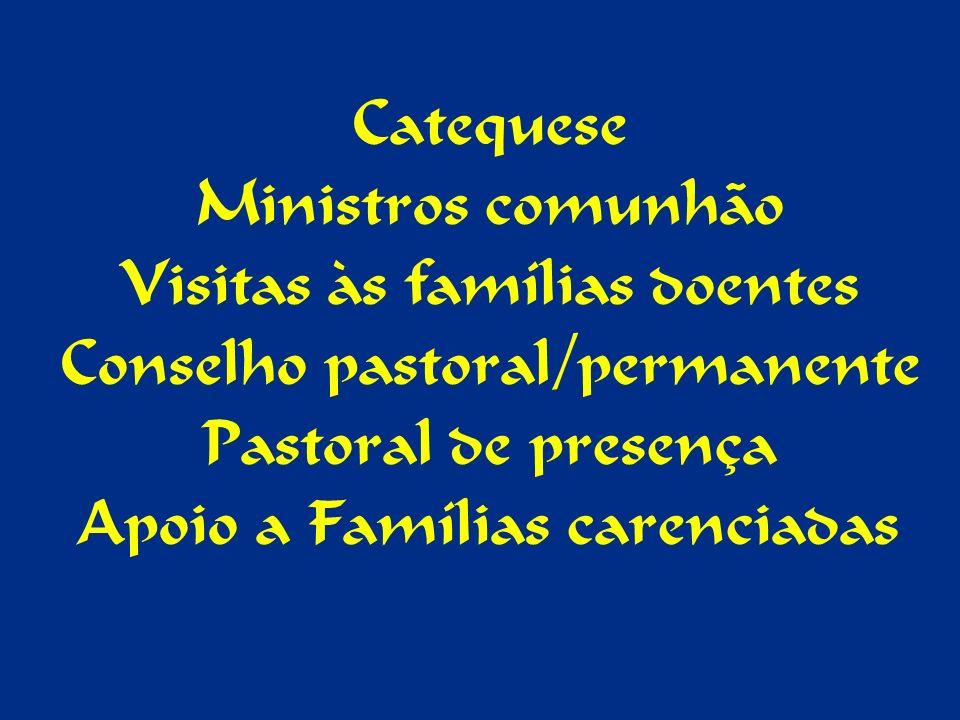 Catequese Ministros comunhão Visitas às famílias doentes Conselho pastoral/permanente Pastoral de presença Apoio a Famílias carenciadas