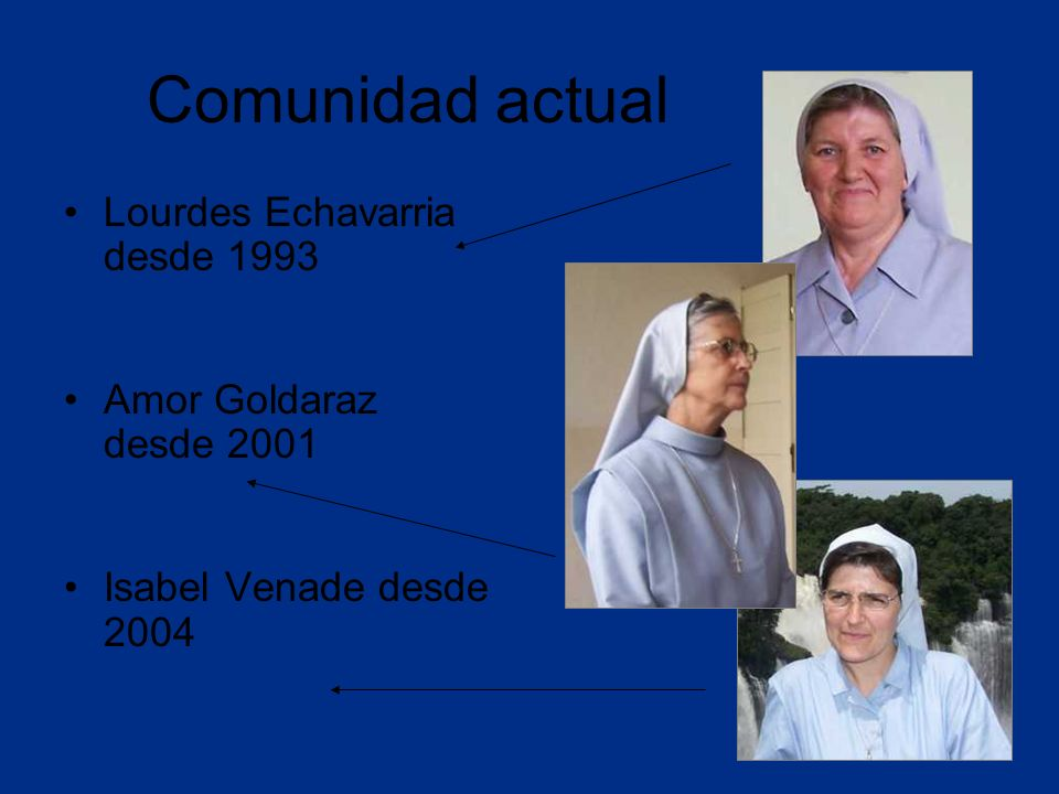 Comunidad actual Lourdes Echavarria desde 1993 Amor Goldaraz desde 2001 Isabel Venade desde 2004