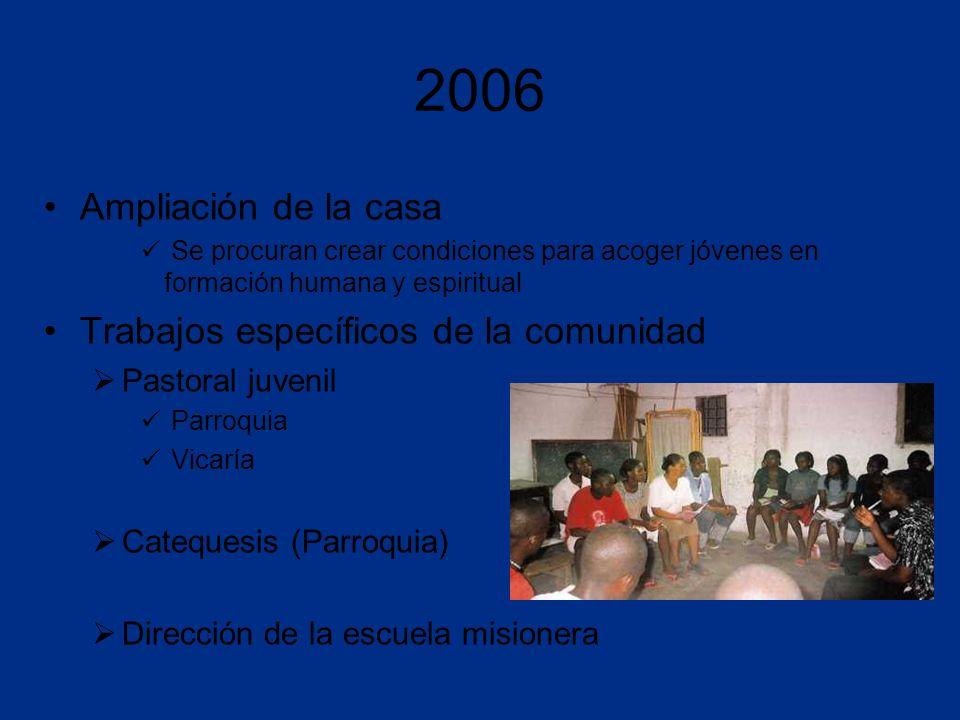 2006 Ampliación de la casa Se procuran crear condiciones para acoger jóvenes en formación humana y espiritual Trabajos específicos de la comunidad Pastoral juvenil Parroquia Vicaría Catequesis (Parroquia) Dirección de la escuela misionera