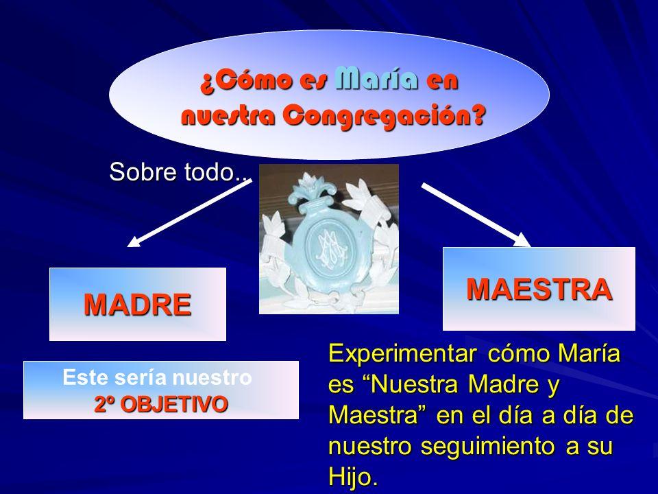 Sobre todo.. ¿Cómo es María en nuestra Congregación? nuestra Congregación? MADRE MAESTRA Este sería nuestro 2º OBJETIVO Experimentar cómo María es Nue