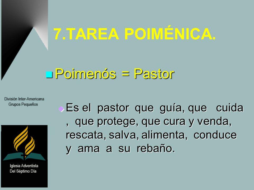 7.TAREA POIMÉNICA. Poimenós = Pastor Poimenós = Pastor Es el pastor que guía, que cuida, que protege, que cura y venda, rescata, salva, alimenta, cond