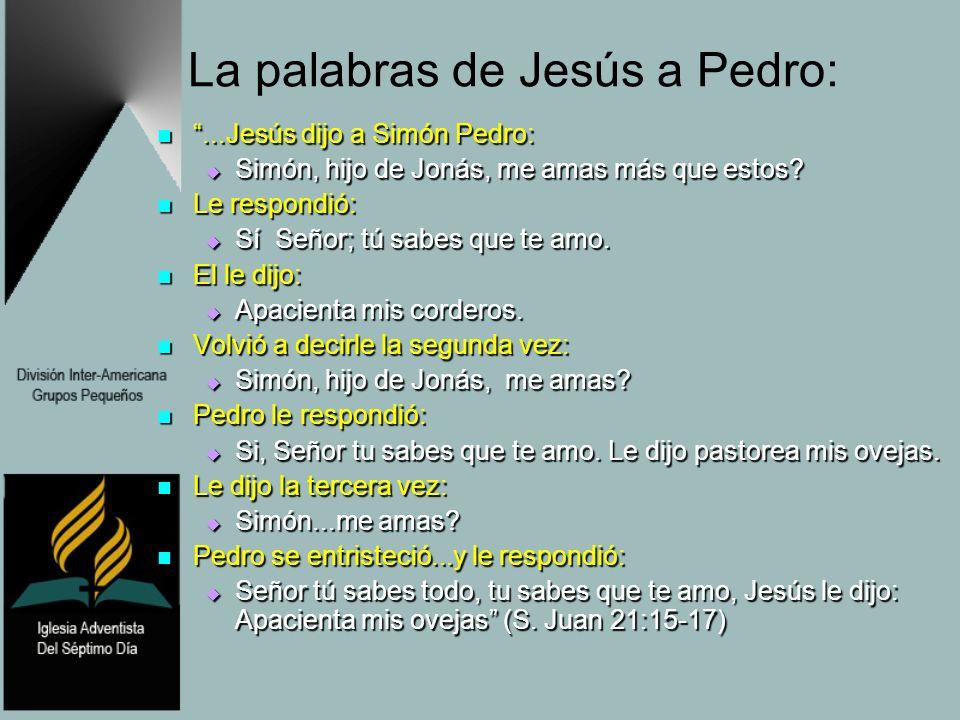 La palabras de Jesús a Pedro:...Jesús dijo a Simón Pedro:...Jesús dijo a Simón Pedro: Simón, hijo de Jonás, me amas más que estos? Simón, hijo de Joná