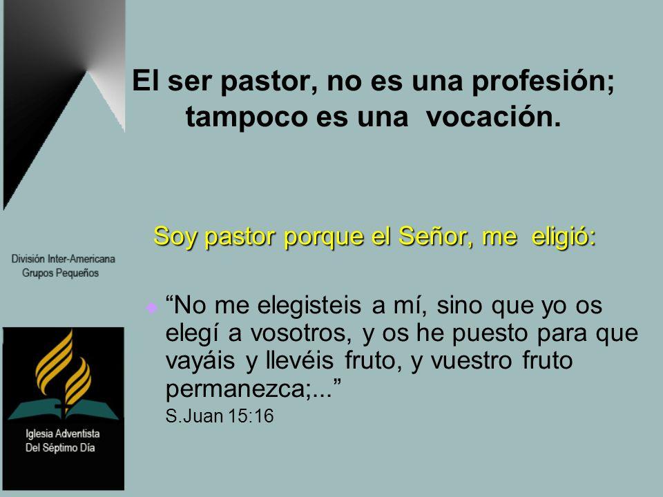 El ser pastor, no es una profesión; tampoco es una vocación. Soy pastor porque el Señor, me eligió: Soy pastor porque el Señor, me eligió: No me elegi