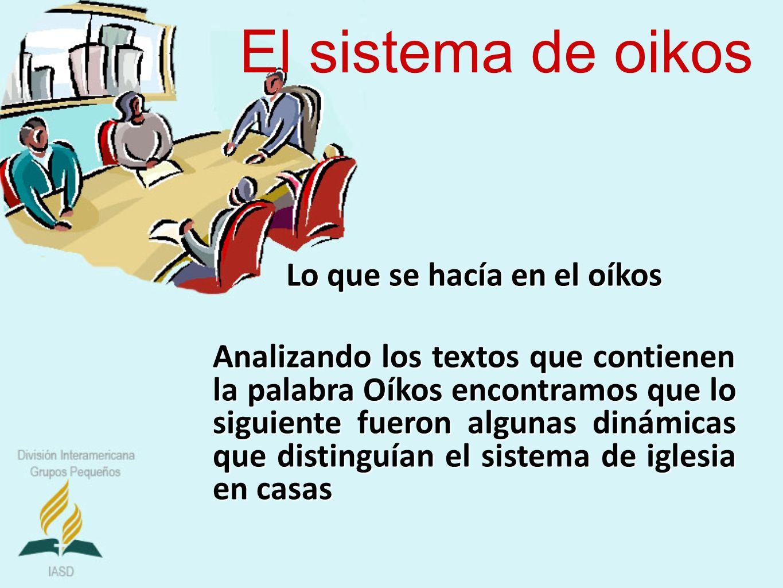 El sistema de oikos Lo que se hacía en el oíkos Analizando los textos que contienen la palabra Oíkos encontramos que lo siguiente fueron algunas dinám