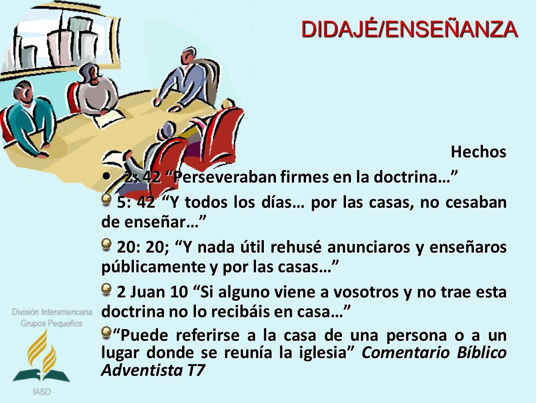 Hechos 2: 42 Perseveraban firmes en la doctrina… 2: 42 Perseveraban firmes en la doctrina… 5: 42 Y todos los días… por las casas, no cesaban de enseña
