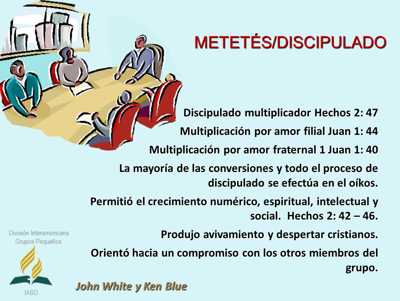 Discipulado multiplicador Hechos 2: 47 Multiplicación por amor filial Juan 1: 44 Multiplicación por amor fraternal 1 Juan 1: 40 La mayoría de las conv
