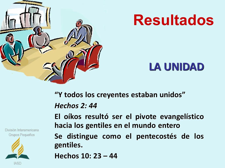 Resultados LA UNIDAD Y todos los creyentes estaban unidos Hechos 2: 44 El oíkos resultó ser el pivote evangelístico hacia los gentiles en el mundo ent