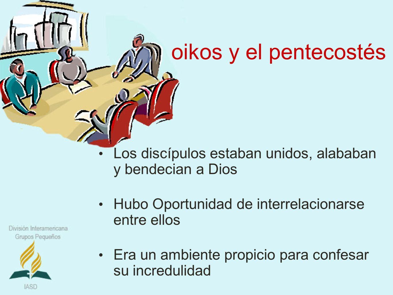 oikos y el pentecostés Los discípulos estaban unidos, alababan y bendecian a Dios Hubo Oportunidad de interrelacionarse entre ellos Era un ambiente pr
