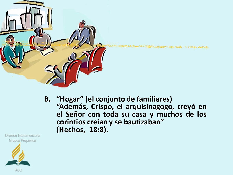 B.Hogar (el conjunto de familiares) Además, Crispo, el arquisinagogo, creyó en el Señor con toda su casa y muchos de los corintios creían y se bautiza