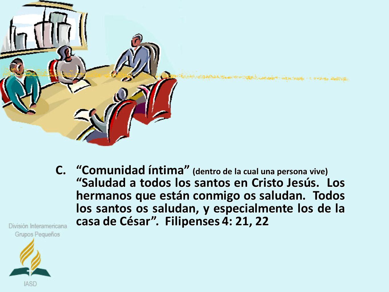 C.Comunidad íntima (dentro de la cual una persona vive) Saludad a todos los santos en Cristo Jesús. Los hermanos que están conmigo os saludan. Todos l