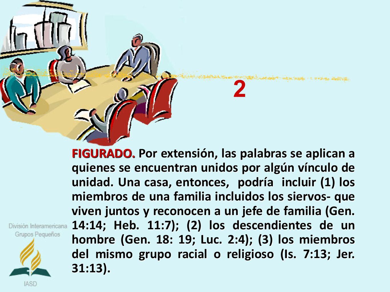 FIGURADO. Por extensión, las palabras se aplican a quienes se encuentran unidos por algún vínculo de unidad. Una casa, entonces, podría incluir (1) lo