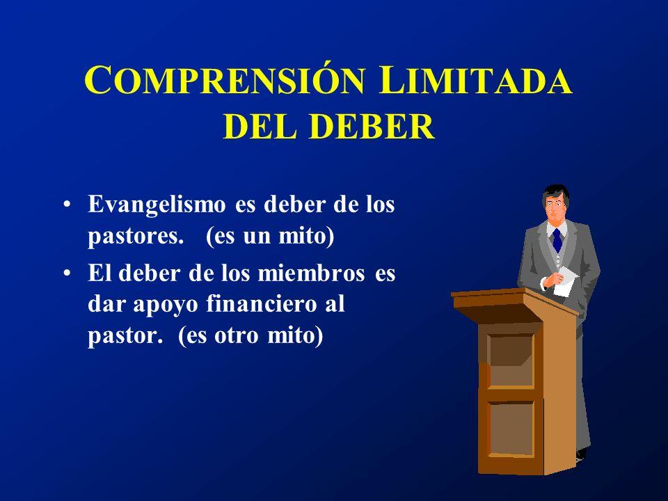 C OMPRENSIÓN L IMITADA DEL DEBER Evangelismo es deber de los pastores. (es un mito) El deber de los miembros es dar apoyo financiero al pastor. (es ot