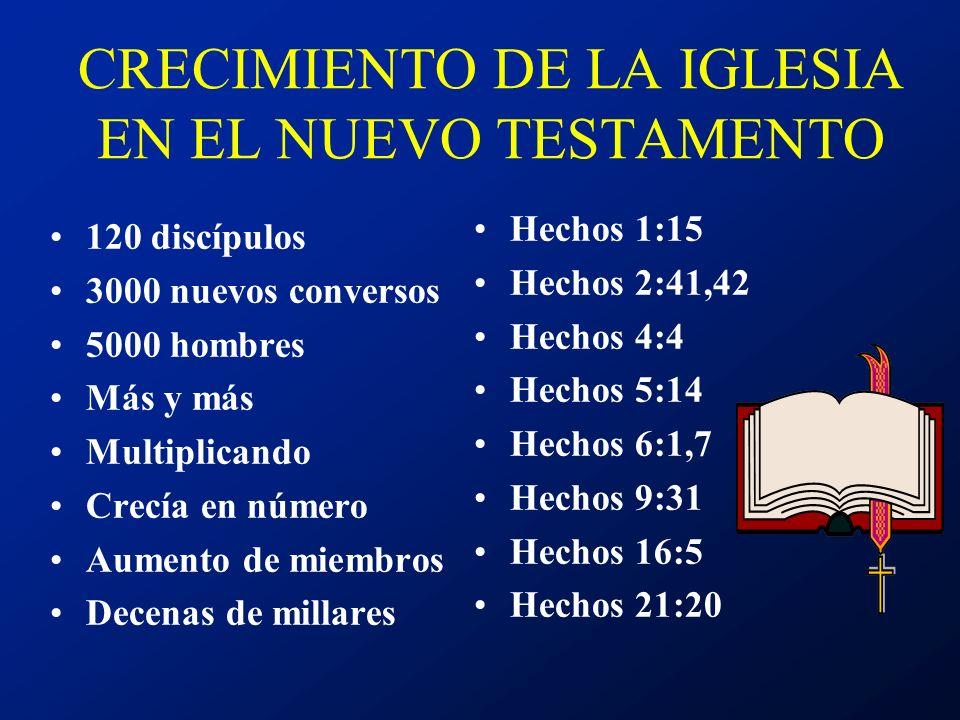 CRECIMIENTO DE LA IGLESIA EN EL NUEVO TESTAMENTO 120 discípulos 3000 nuevos conversos 5000 hombres Más y más Multiplicando Crecía en número Aumento de