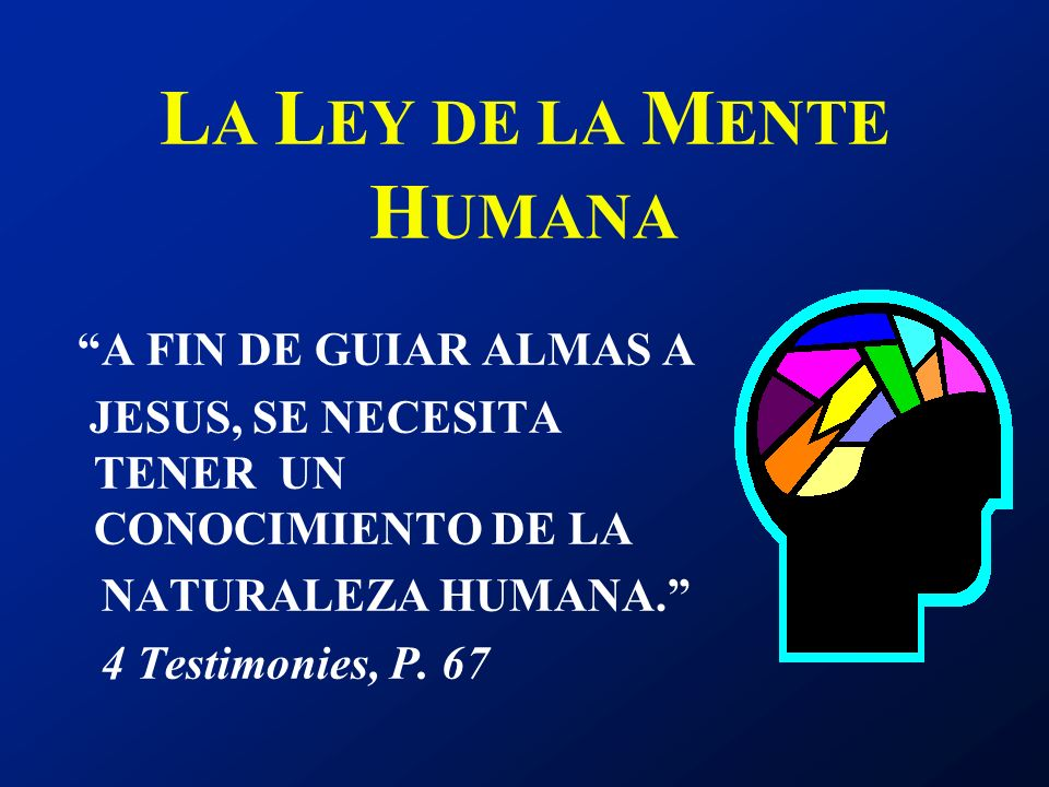 A FIN DE GUIAR ALMAS A JESUS, SE NECESITA TENER UN CONOCIMIENTO DE LA NATURALEZA HUMANA. 4 Testimonies, P. 67