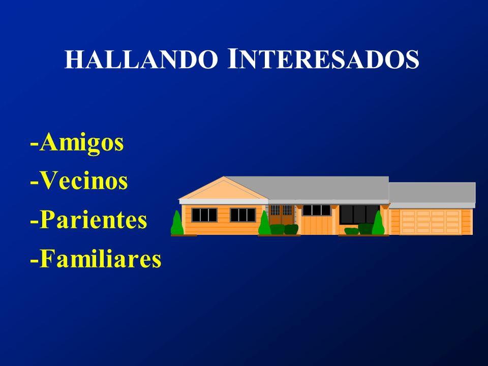 HALLANDO I NTERESADOS -Amigos -Vecinos -Parientes -Familiares