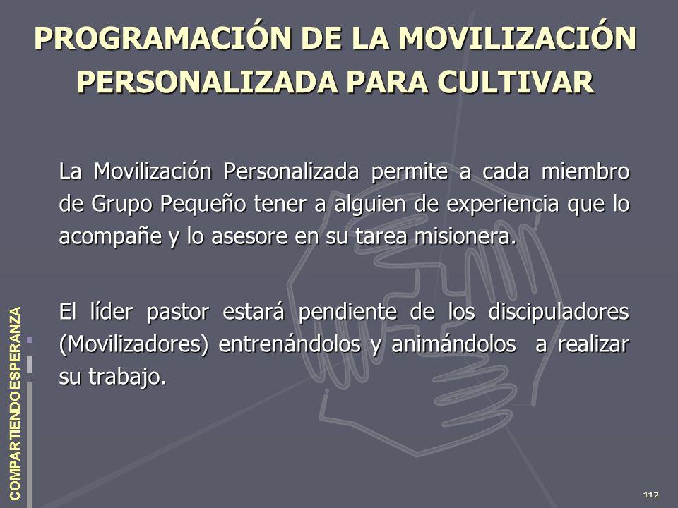 112 COMPARTIENDO ESPERANZA PROGRAMACIÓN DE LA MOVILIZACIÓN PERSONALIZADA PARA CULTIVAR La Movilización Personalizada permite a cada miembro de Grupo P