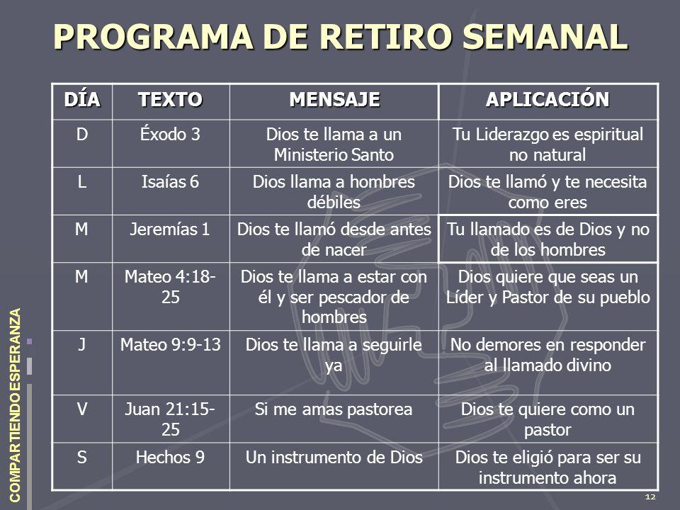 12 COMPARTIENDO ESPERANZA PROGRAMA DE RETIRO SEMANAL DÍATEXTOMENSAJEAPLICACIÓN DÉxodo 3Dios te llama a un Ministerio Santo Tu Liderazgo es espiritual